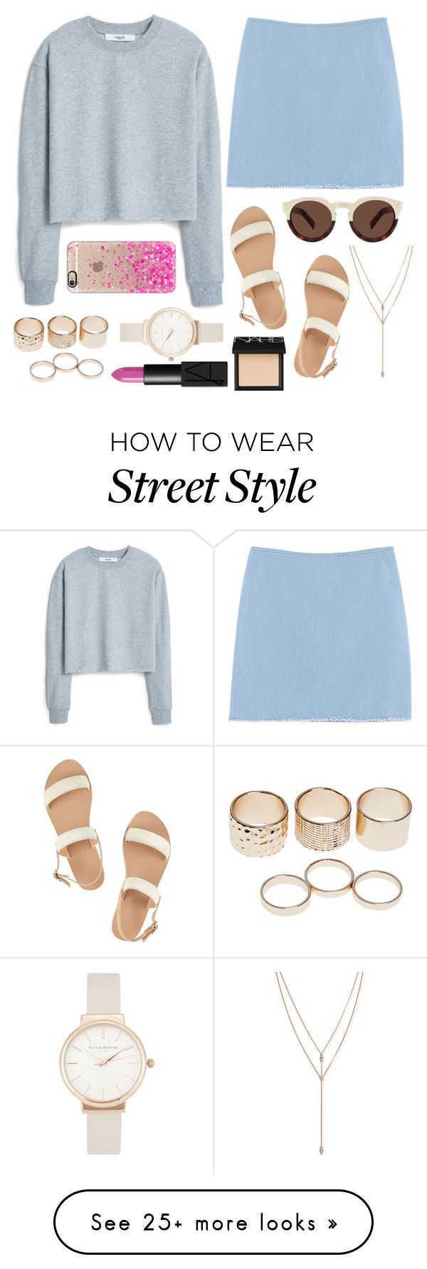 """""""Casual street style"""" by ccpace18 on Polyvore featuring Chicnova Fashion, MANGO, NARS Cosmetics, Ancient Greek Sandals, Wet Seal, Illesteva, Olivia Burton, Vince Camuto and Casetify"""