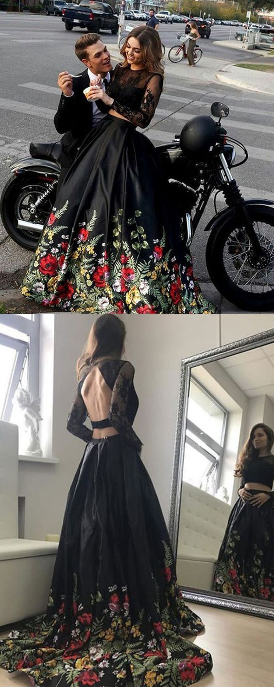 Two Piece Round Neck Long Sleeves Black Floral Satin Prom Dress with Lace F018