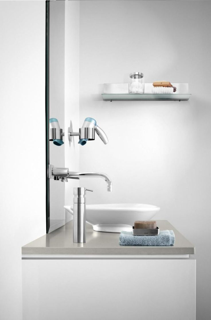 Uchwyt na suszarkę do włosów SENTO, polerowany - Blomus - DECO Salon #Holder for hair dryer #bathroom #bathroomaccessories