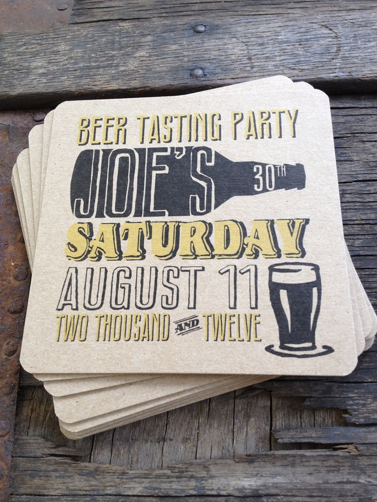 Personalized Beer Party Coasters - would make cool stag invites