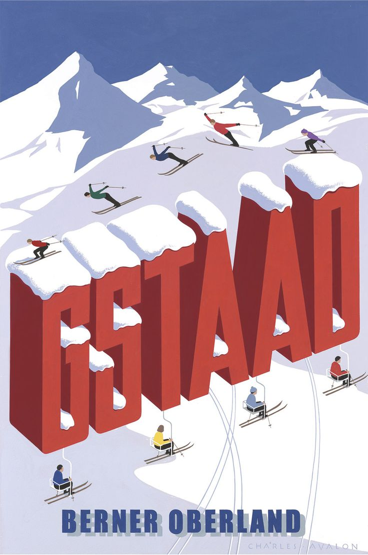 PEL111: 'Gstaad: Letters' - by Charles Avalon - Vintage travel posters - Winter Sports posters - Art Deco - Pullman Editions