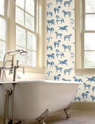 Printed Wall Paper. Near a old fashioned bath tub...
