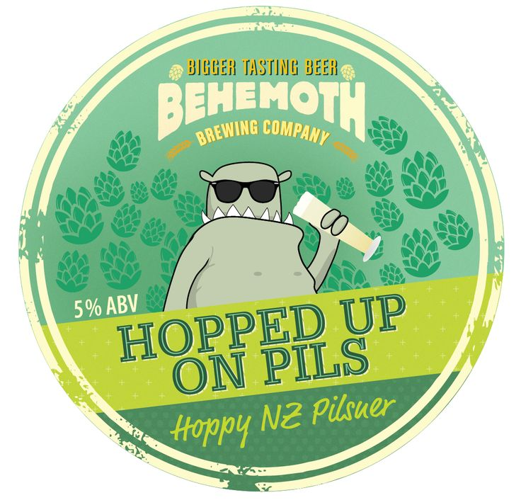 Hopped Up On Pils brewed by Behemoth Brewing Company #beer #craftbeer #label #craft #hoppy #pils #nz