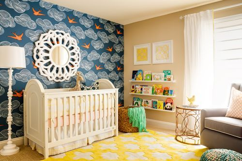 Nursery with Hygge & West wallpaper in Daydream