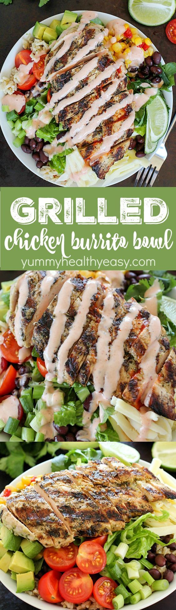 Grilled Chicken Burrito Bowl ~ ditch the tortilla and put everything you love about burritos into a yummy chicken burrito bowl! This recipe is so easy and adaptable to what you like, with tender, marinated and grilled chicken! Add in any combo of brown rice, black beans, lettuce, corn, avocado, cheese, green onions, cilantro, tomatoes, salsa and a drizzling of ranch taco sauce. A fresh, delicious and healthy lunch or dinner!