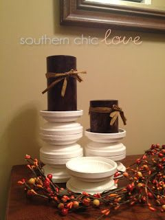 Clay pigeon candle holders. What a great idea!