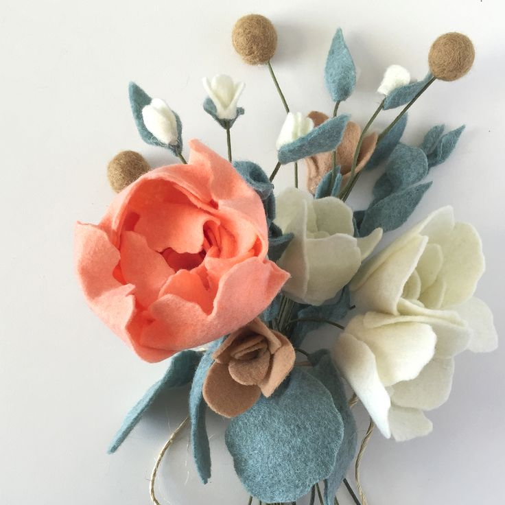 This felt flower rehearsal bouquet is just peachy!! Modern bride Ellywise Studios peach peonies wedding memphis