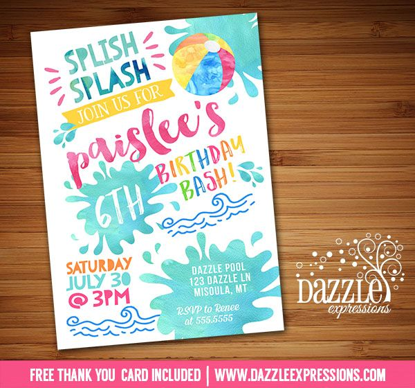Printable Watercolor Pool Party Birthday Invitation | Girl Birthday Party for any age! | Water Park Invite | Beach Ball Invite | Pool  | Waterpark | Swimming | Splish Splash | Splash Pad | Water Slide | Summer Water Party | FREE thank you card included | Printable Matching Party Package Decorations Available! Banner | Signs | Labels | Favor Tags | Water Bottle Labels and more! www.dazzleexpressions.com
