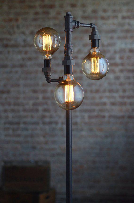 Edison Bulb Floor Lamp Industrial Furniture Standing Light
