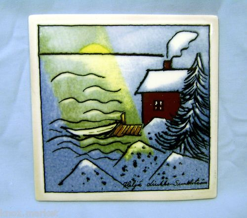 ARABIA FINLAND Wall Tile Signed Helja Liukko-Sundstrom Snow Covered Cabin, Boat | eBay