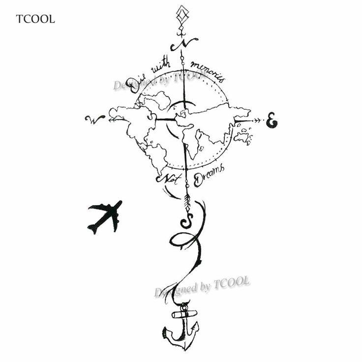 Hxman Plane To Earth Temporary Fake Tattoo Body Art Sticker Waterproof Hand Tattoo Sticker For Men 9.8x6cm E-023