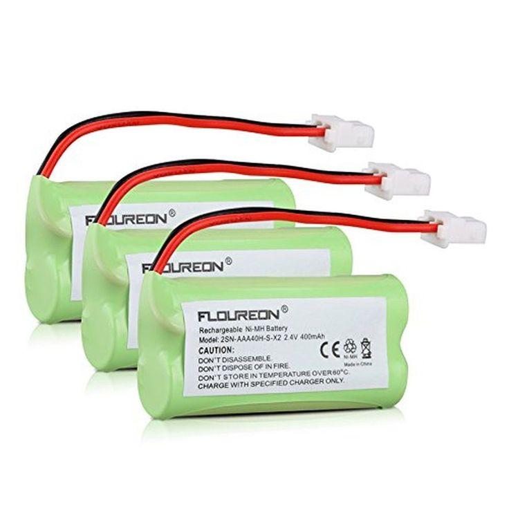 Floureon 3 Packs 2.4V 400mAh Cordless Home Phone Battery for AT&T BT162342 BT...