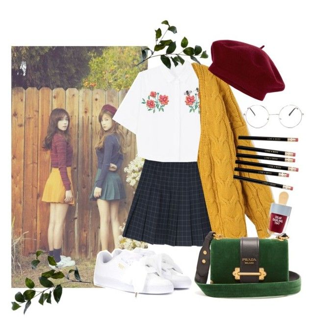 Apink look - Back to School by gpatricia on Polyvore featuring polyvore fashion style Chicwish MANGO Puma Prada Accessorize Wyld Home clothing
