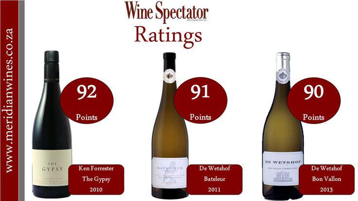 Ken Forrester and De Wetshof scores above 90 in the latest Wine Spectator.