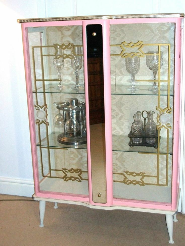 Pink Amp Cream Art Deco 1950 S Glass Cocktail Cabinet Shabby