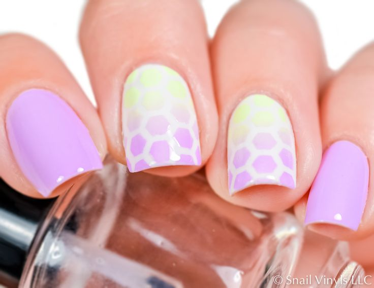 get your bumblebee and springtime manicure on with these cute honeycomb nail stencils try sponging an ombr or painting a solid color