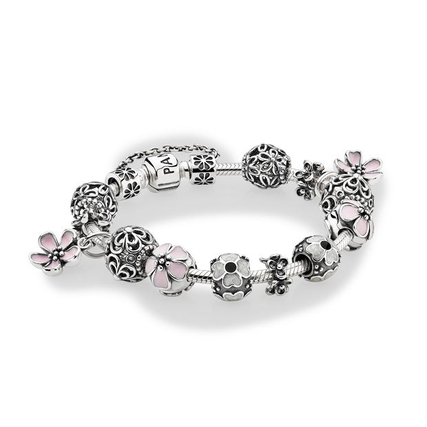 new Pandora charms love the pink flowers - plumerias I think and the daisy charms