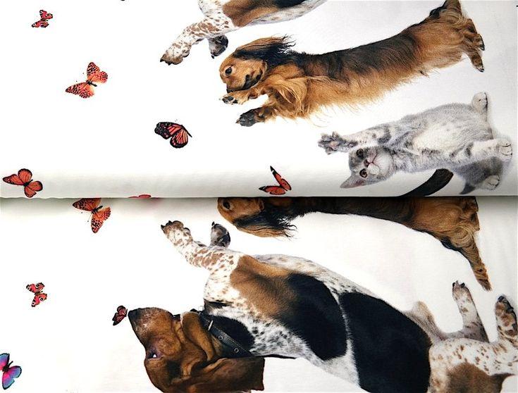 Stenzo18 11829-02 Tricot digitaal rand honden/poezen/vlinders off-white