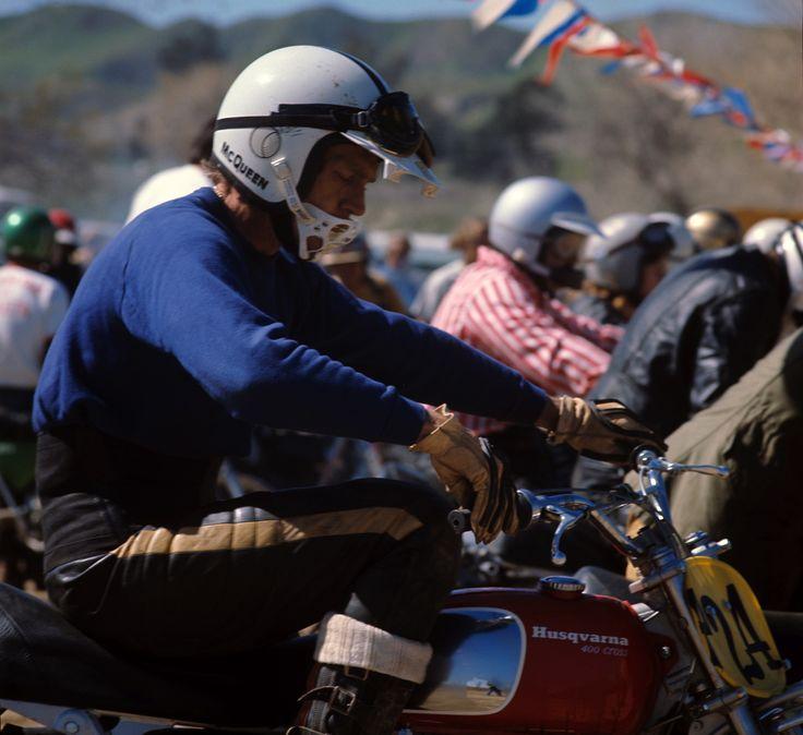 Steve McQueen riding his Husqvarna 400 motorcycle, 1971.  https://theselvedgeyard.wordpress.com/2012/09/24/steve-mcqueen-aka-harvey-mushman-rides-again-vintage-si/
