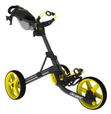 The award-winning compact design Yellow Clicgear Model 3.5 Golf Push Cart! #LorisGolfShoppe