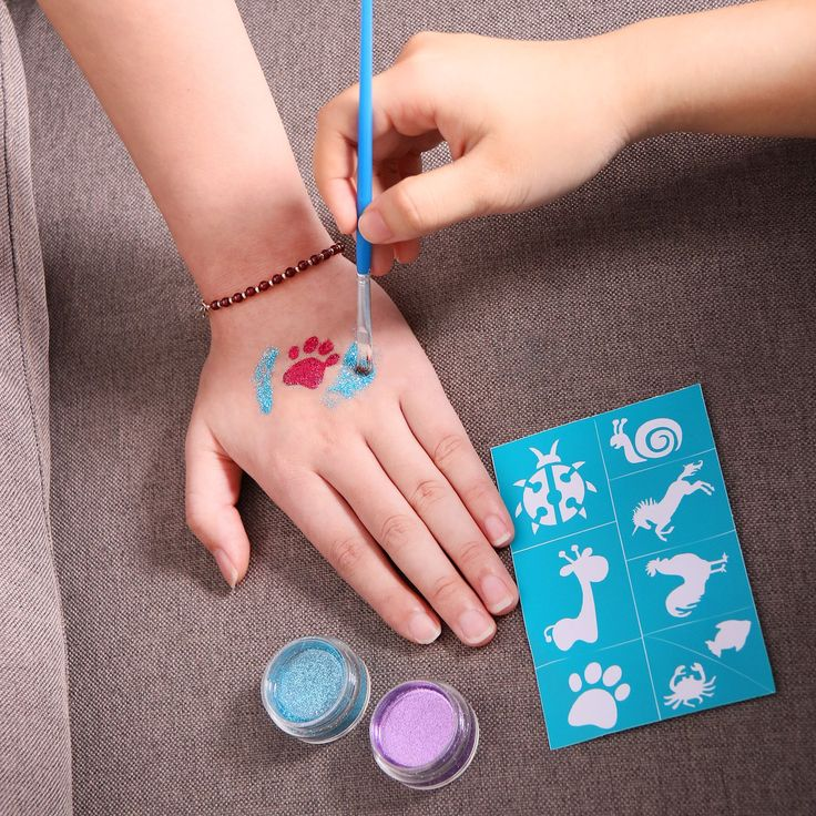 Maydear Glitter Tattoo Kit with 6 Large Glitters and 40