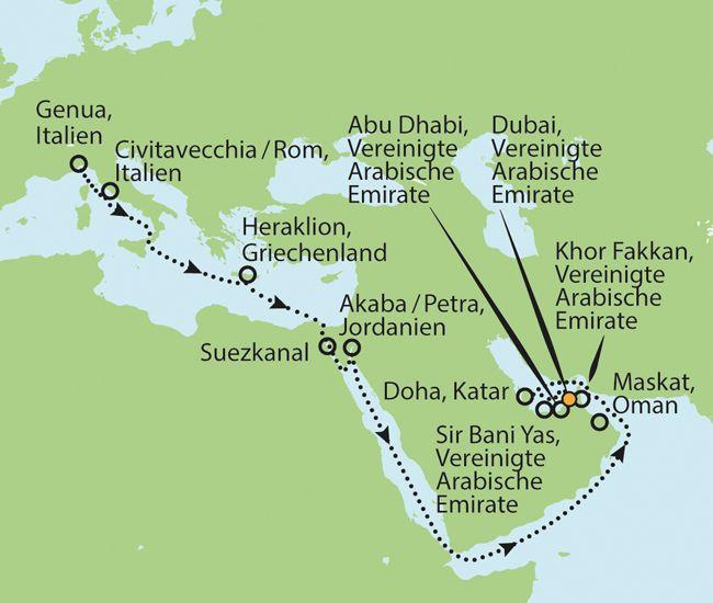 22 Tage Kreuzfahrt von Genua nach Dubai. Balkonkabine inkl. Flüge für nur 1999,- €!