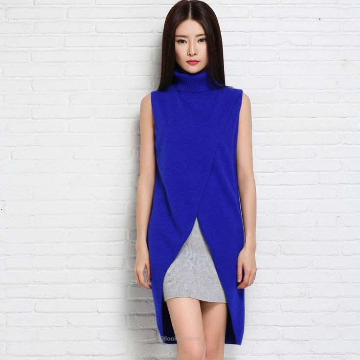 Long Pullover Fork Split Turtleneck Sleeveless Sweater Vest - blue / S - Sweaters, www.looklovelust.com - 5, https://www.looklovelust.com/products/long-pullover-fork-split-turtleneck-sleeveless-sweater-vest