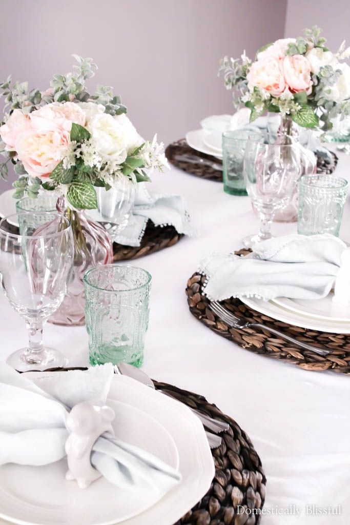 pastel spring tablescape domestically blissful pinterest brunch decor easter table settings and easter decor