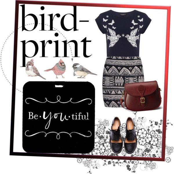 """""""How Do You Style Bird-Print Tops?"""" by aninditaa on Polyvore"""