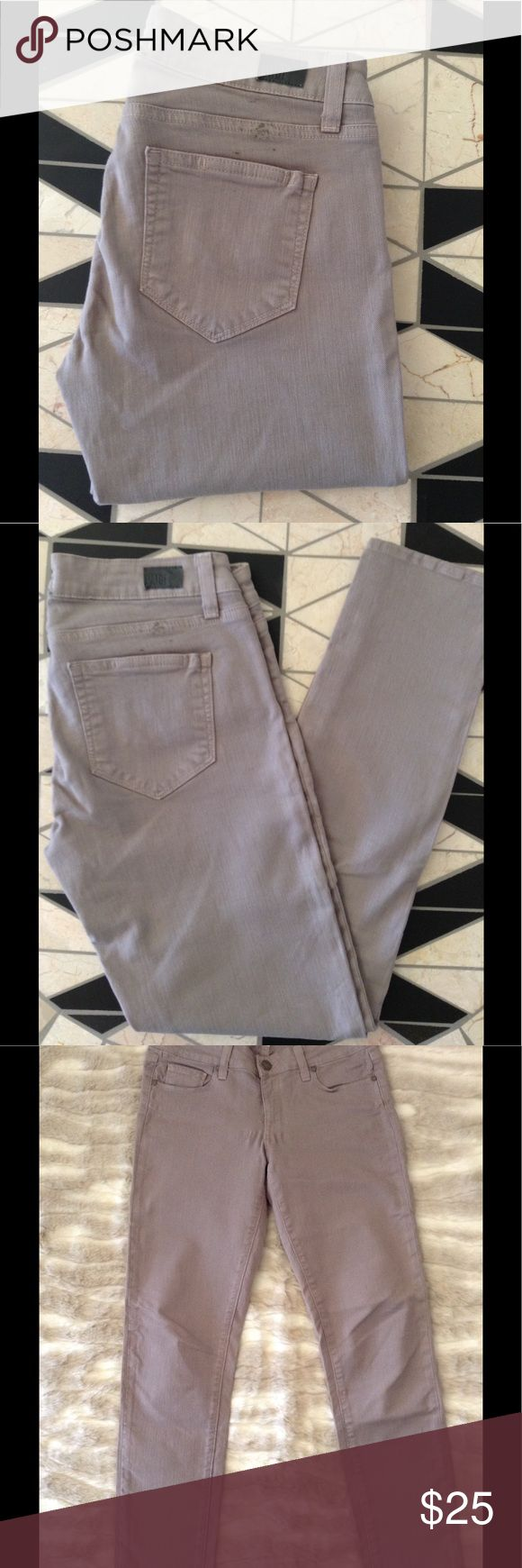 PAIGE - Skyline Peg Skinny Taupe Jeans Paige Premium Denim - Skyline Peg Skinny Jeans. Retail $168.00. Size: 27. Material: 98% Cotton, 2% Elastane. Inseam: 29 inches. Color: Taupe ( khaki/grayish rinse). Purchased at Paige jeans in L.A. During a sample sale. Worn once, as I needed a much longer pair and these were an impulse buy because the color is incredible.  Rinse is intentionally distressed to look beach washed and lived in. Two small adhesive marks above back pockets. (Purchased in…