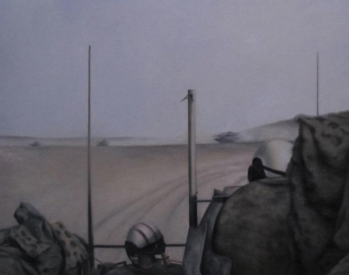 Kampvogne i den afghanske ørken. Mathilde Fenger. Olie på lærred 2011