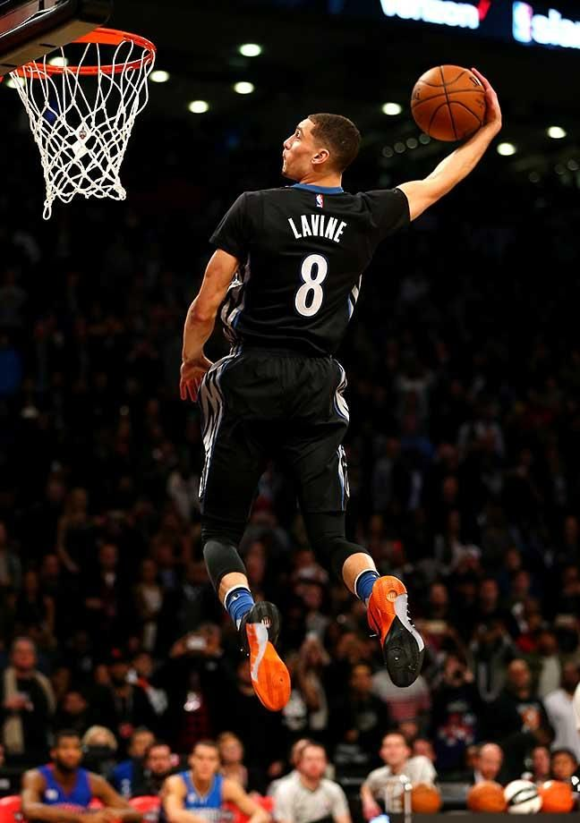 Zach LaVine of the Minnesota Timberwolves dunks on his way to a win in the Verizon Slam Dunk Contest during NBA All-Star Weekend.