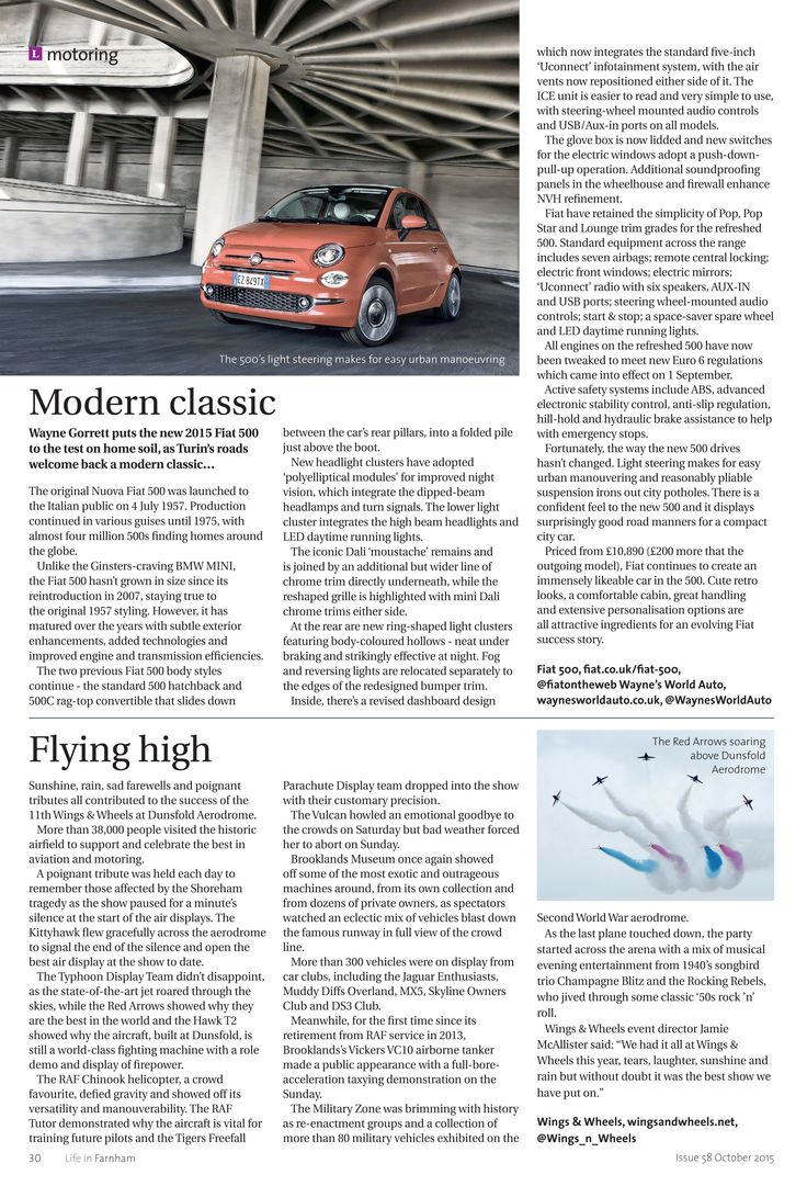 Modern classic - behind the wheel of the new Fiat 500, and flying high at Wings & Wheels... #locallife #Farnham #Surrey #motoring #roadtest #events