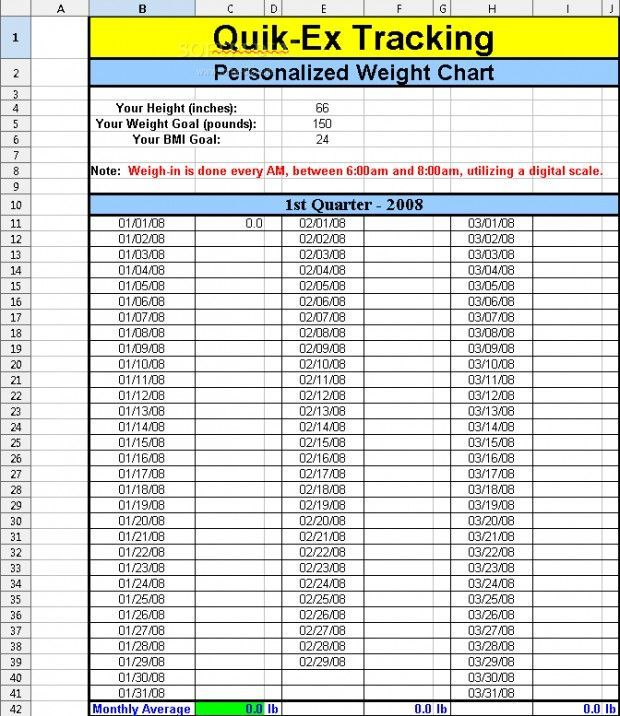 printable weight loss chart