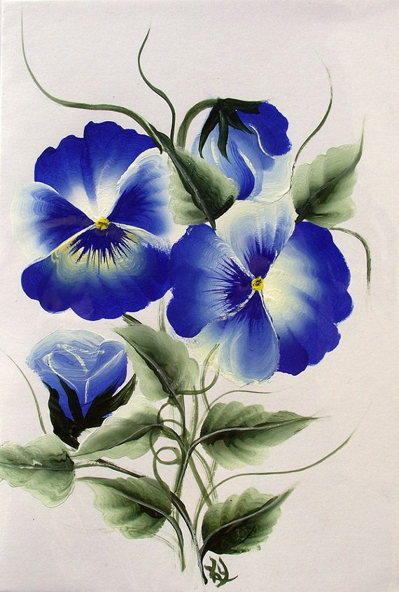 """Hand Painted Blue Pansy....note to self: """"brush up"""" on my Donna Dewberry flower painting."""