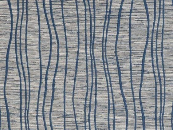 Tasman Blue Fabric by Tru Living - Wavy blue abstract lines on a natural grain effect background