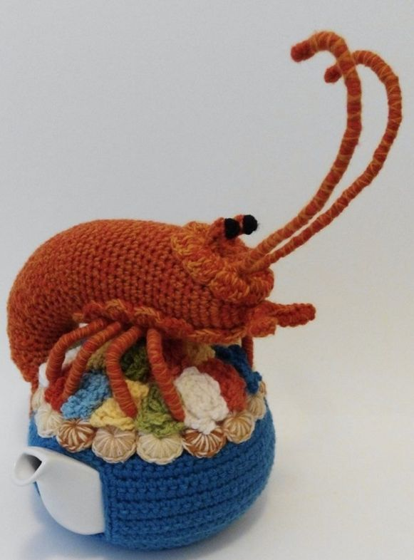 Lobster tea cosy by Trevor Smith. What a clever wool artist.