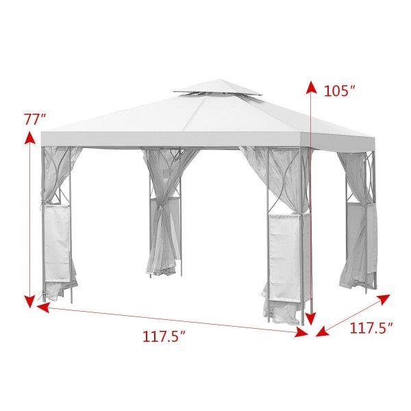 2 Tier 10 X 10 Patio Steel Gazebo Canopy Shelter Canopies Gazebos Outdoor Structures Outdoor Living Lawn With Images Steel Gazebo Gazebo Canopy Canopy Shelter