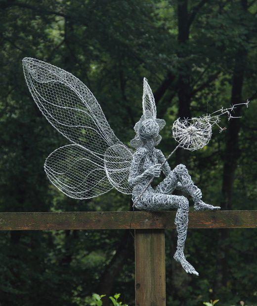 Fantasy Wire Fairies Sculptures - Dandelion {part of the Fairies at Trentham Gardens trail}