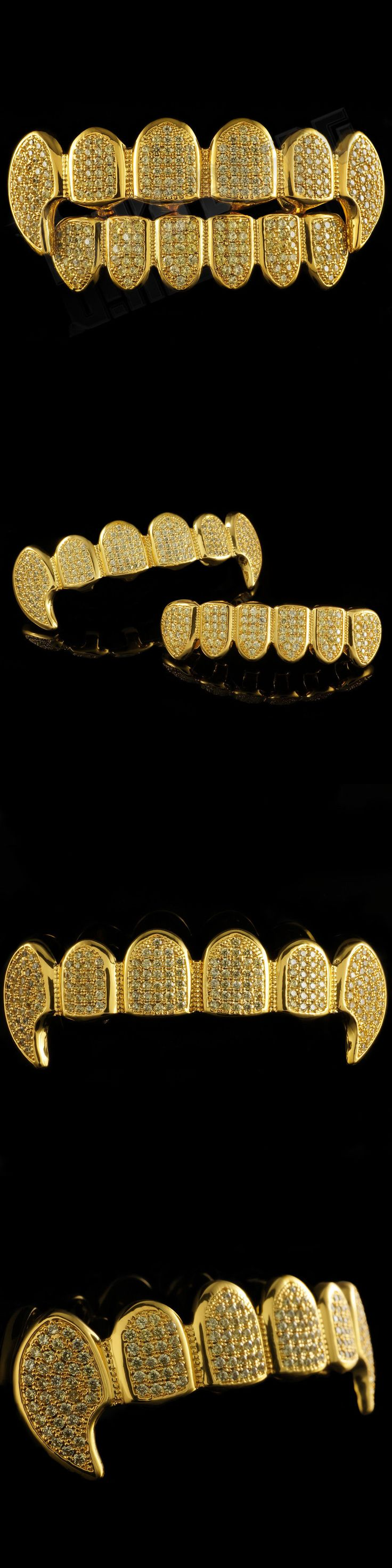 Grillz Dental Grills 152808: 18K Gold Plated Canary Cz Vampire Dracula Fangs Top Bottom Grillz Teeth Grills BUY IT NOW ONLY: $59.99