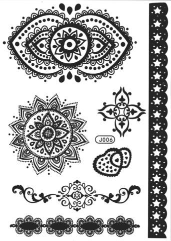 Tribal Mandala Temporary Tattoos in Black Lace Henna at MyBodiArt