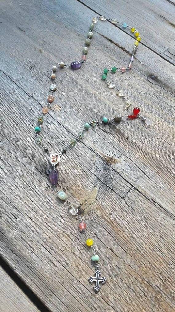 Boho Halskette Rosenkranz Halskette Edelstein Halskette