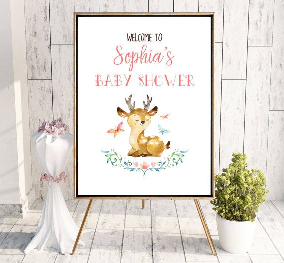 Baby Girl Shower Welcome sign Woodland Whimsical Printable