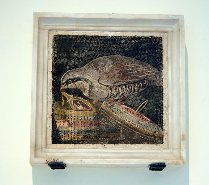 Una Pernice estrae un gioiello da un cestino - dalla Casa del Labirinto di Pompei - Museo Arch. Naz. Napoli