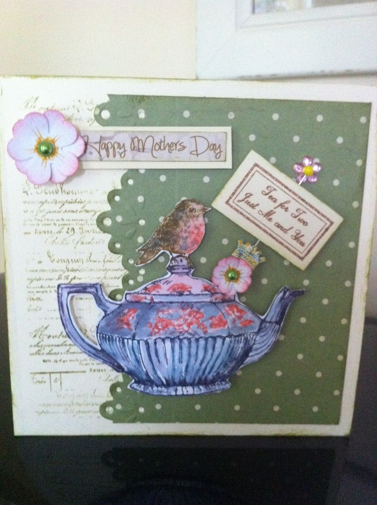 Mother's Day Card using Teatime Delights by Crafty Individuals stamp set. Teapot coloured using Kaszazz Distress Markers.