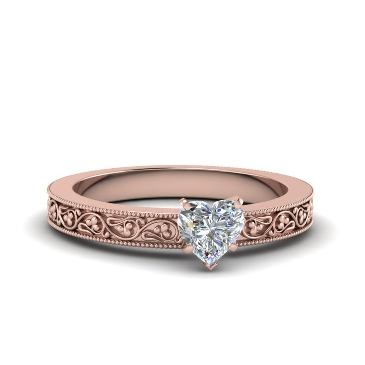 Best Flower Heart Shaped diamond Solitaire Engagement Rings for Women in K Rose Gold exclusively styled by