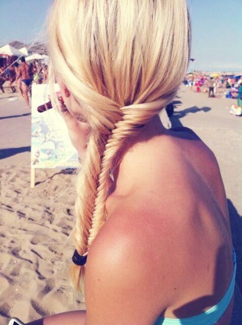 Fischgräte, Zopf, geflochten, Strand, blond hairs