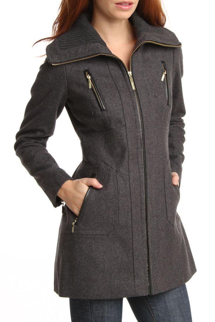 Kensie Zip Front Melton Wool Blend Coat In Charcoal - Beyond the Rack