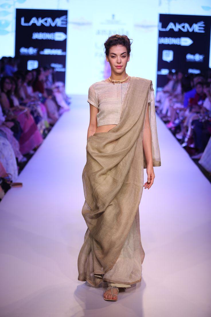 misty rose and tan block linen sari