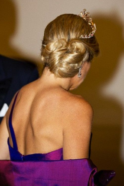 Queen Maxima of the Netherlands hair details as she attends the state banquet at the Presidential Palace in Warsaw, Poland, 24.06.2014.